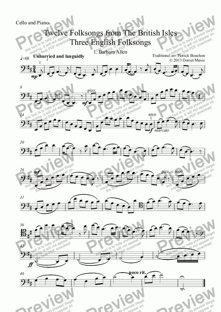 page one of the Violoncello part from Three English Folksongs for cello and piano 1. Barbara Allen