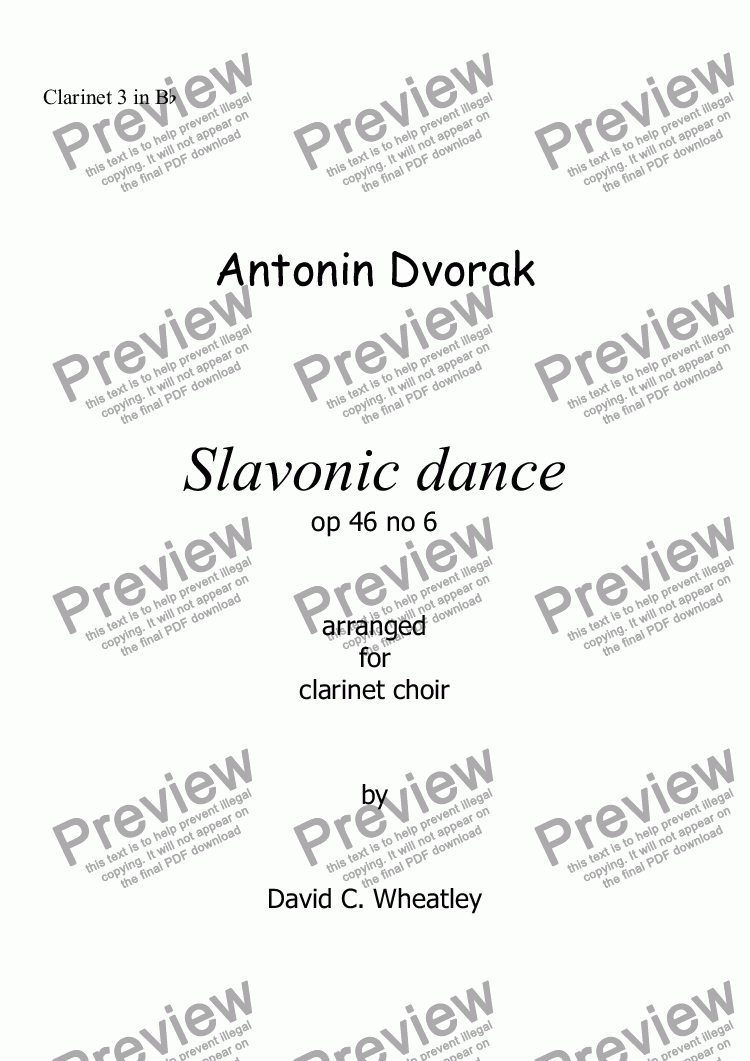 page one of the Clarinet 3 in Bb part from Dvorak Slavonic dance op 46 no 6 for clarinet choir