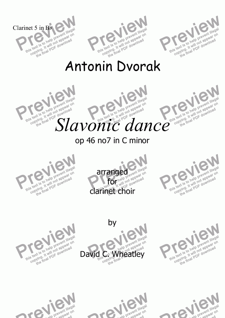 page one of the Clarinet 5 in Bb part from Dvorak Slavonic dance op 46 no 7 for clarinet choir