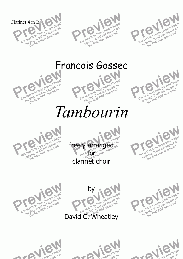 page one of the Clarinet 4 in Bb part from Tambourin (Gossec) for clarinet choir
