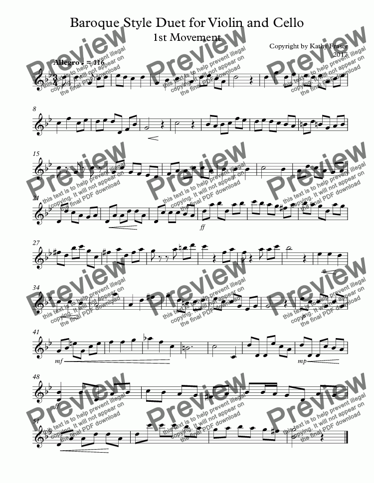 page one of the Violin 1 part from Baroque Style Duet for Violin and Cello