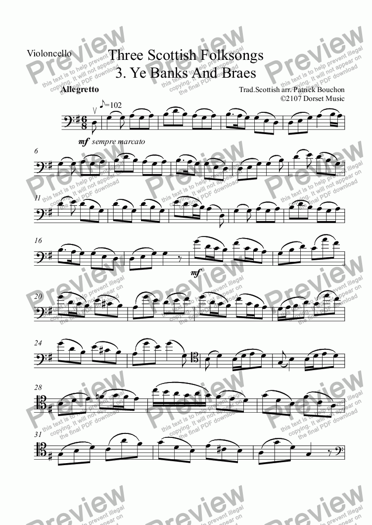 page one of the Violoncello part from Three Scottish Folksongs for cello and Piano 3. Ye Banks And Braes