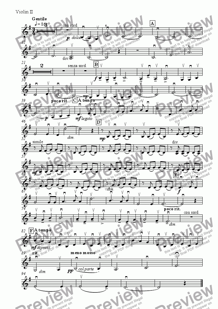 page one of the Violin 2 part from Folk Song Suite No 1     1. Southerly Skye
