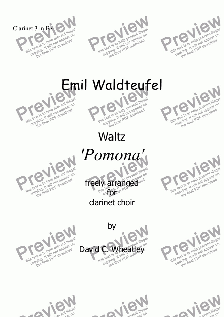 page one of the Clarinet 3 in Bb part from Waldteufel - Waltz 'Pomona' for clarinet choir