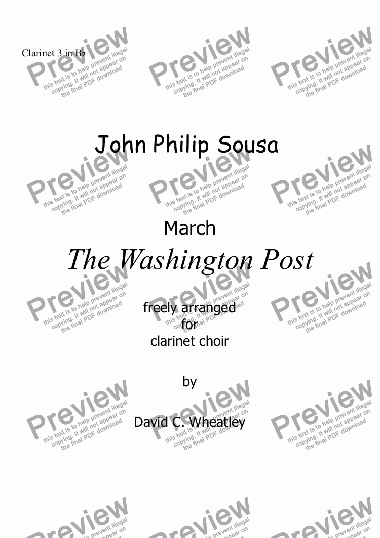 page one of the Clarinet 3 in Bb part from Sousa - Washington Post March for clarinet choir