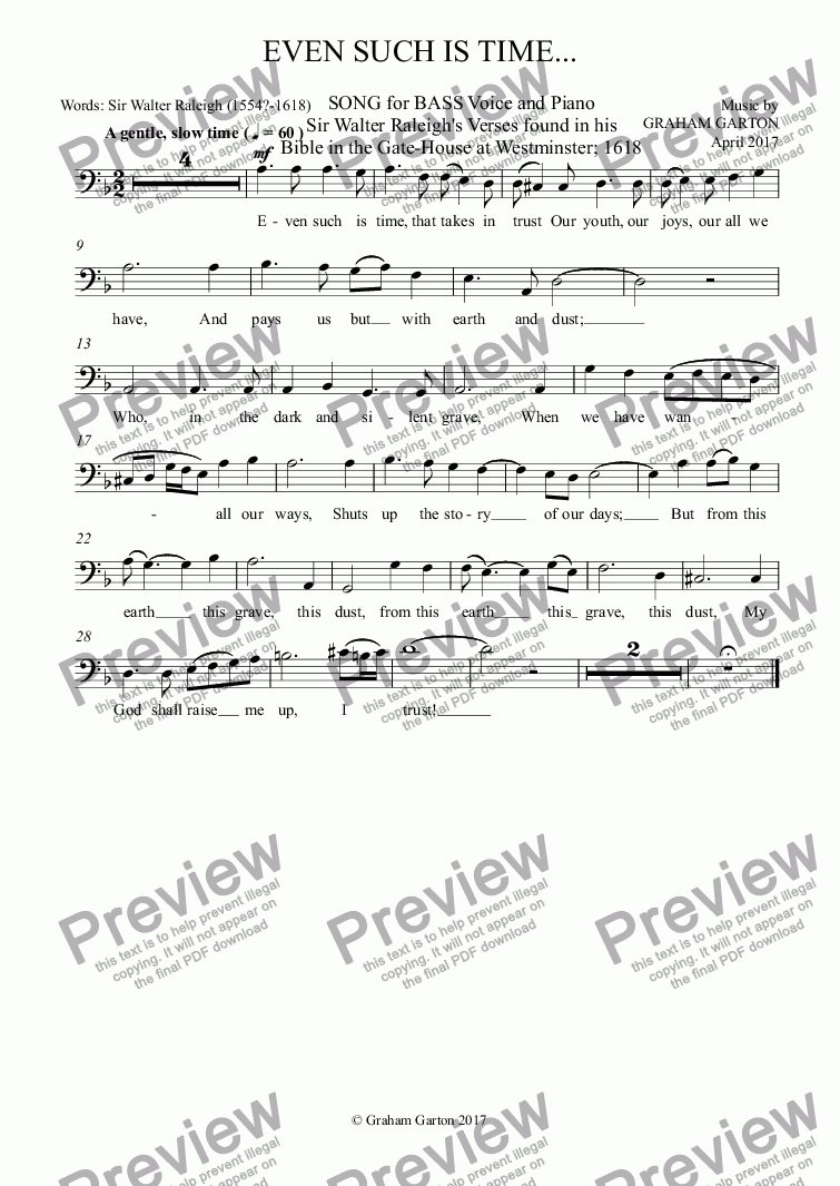 page one of the Baritone part from SONG - 'EVEN SUCH IS TIME...' for BASS Voice and Piano. Words: Sir Walter Raleigh ( 154?-1618)
