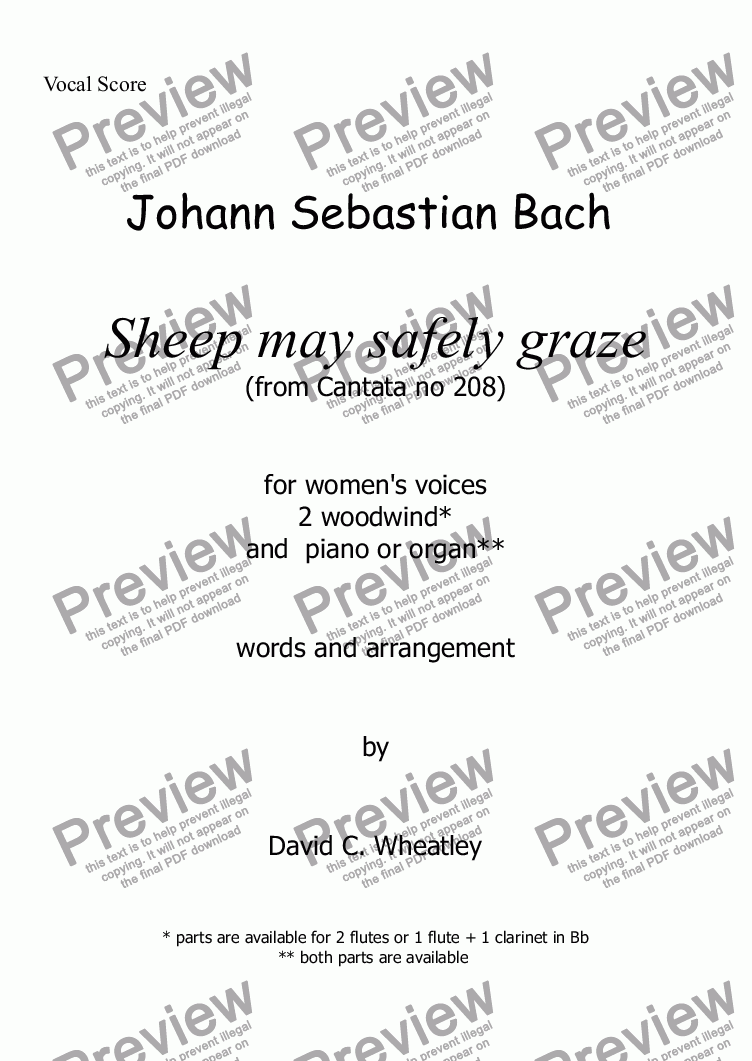 page one of the voice parts part from Bach - Sheep may safely graze for womens voices (SSA + keyboard + ww)