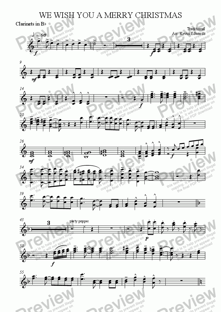 page one of the clarinets part from We Wish You a Merry Christmas