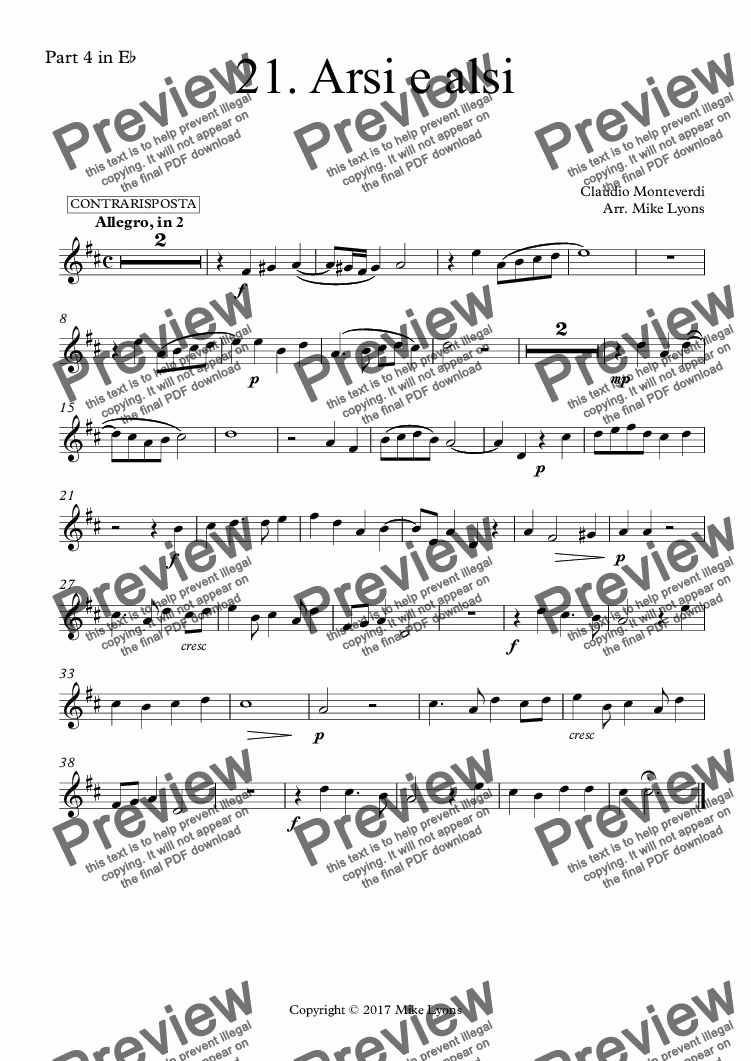 page one of the Part 4 in E^b part from Brass Quintet - Monteverdi Madrigals Book 1 - 21. Arsi e alsi