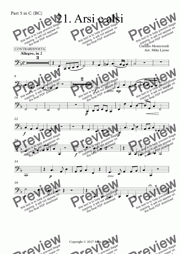 page one of the Part 5 in C (BC) part from Brass Quintet - Monteverdi Madrigals Book 1 - 21. Arsi e alsi