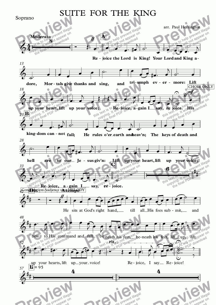 page one of the Soprano part from SUITE  FOR  THE  KING