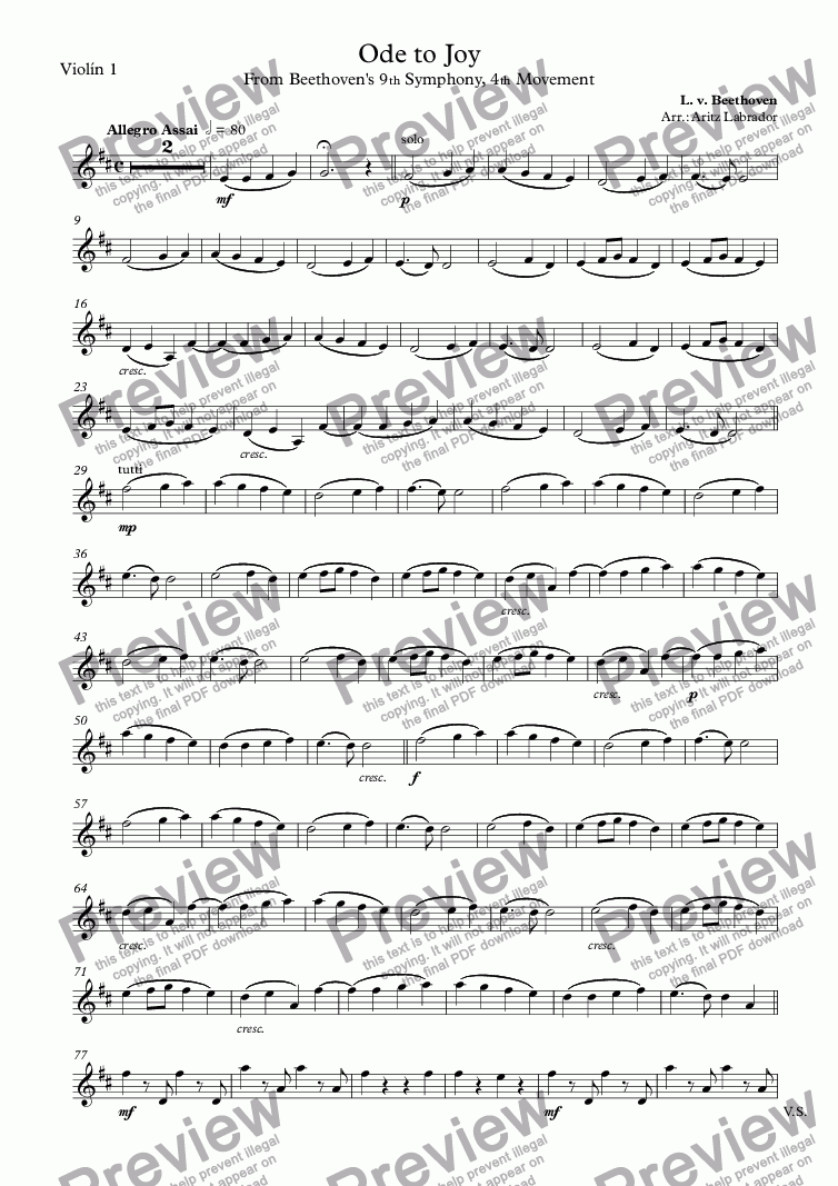 page one of the Violín 1 part from Ode to Joy