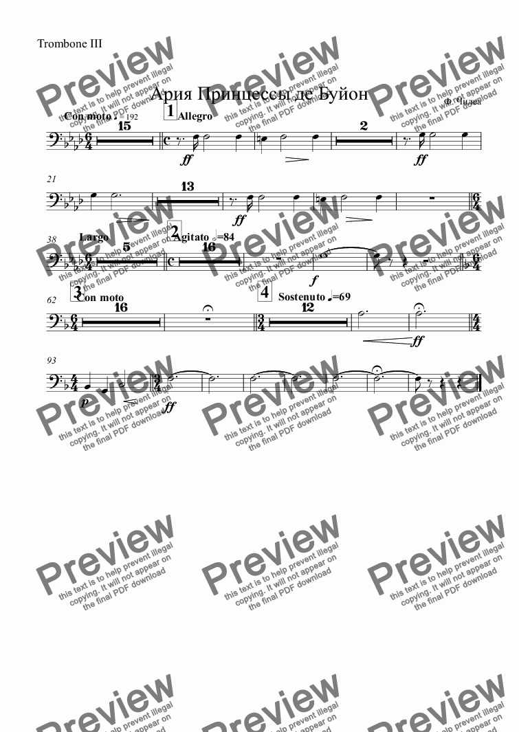page one of the Trombone III part from Aria: Principessa di Bouillon - orch. parts only