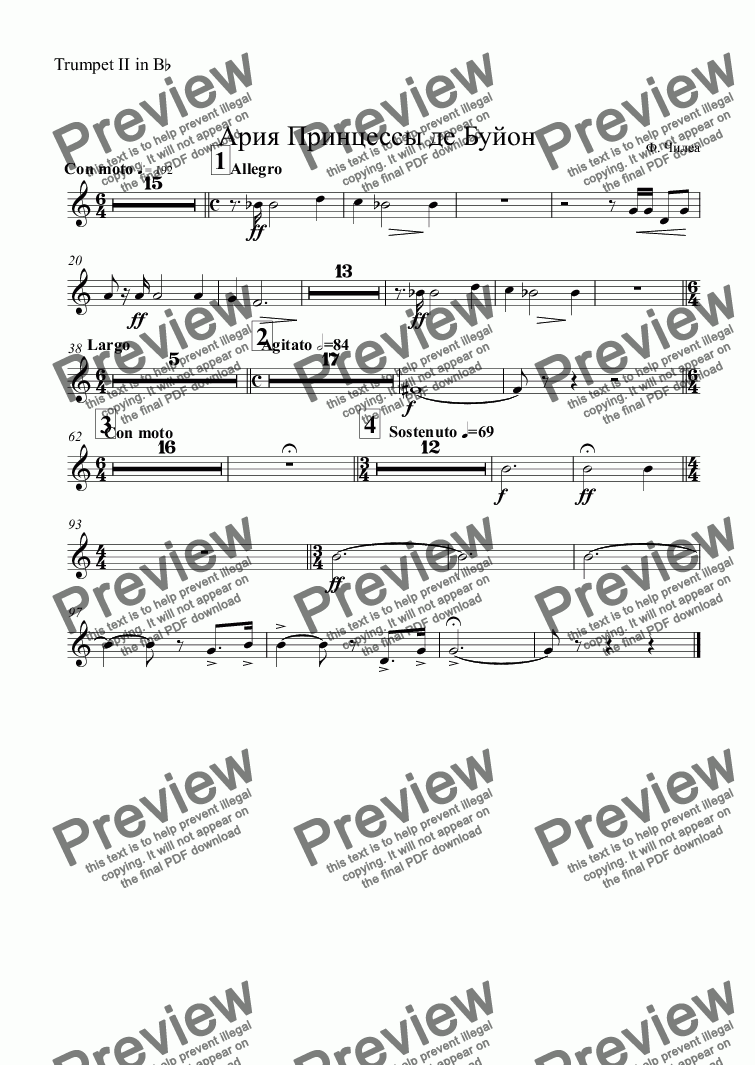 page one of the Trumpet II in B^b part from Aria: Principessa di Bouillon - orch. parts only