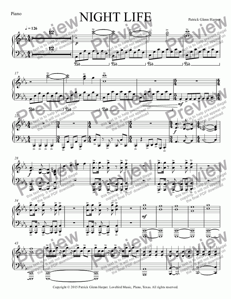 page one of the Piano part from Night Life