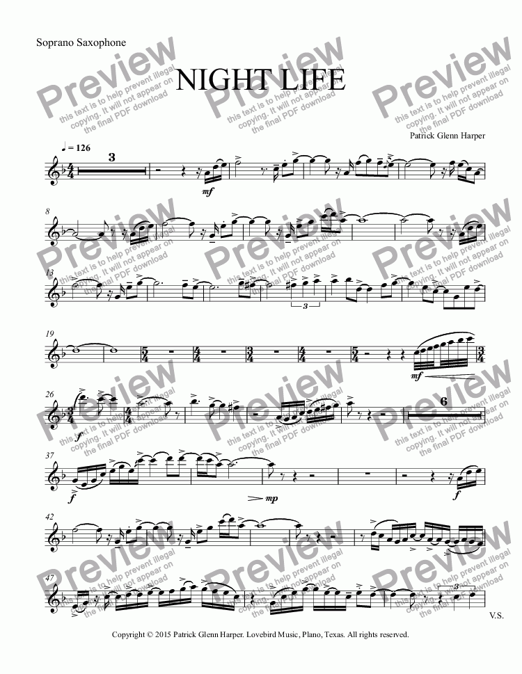 page one of the Soprano Saxophone part from Night Life