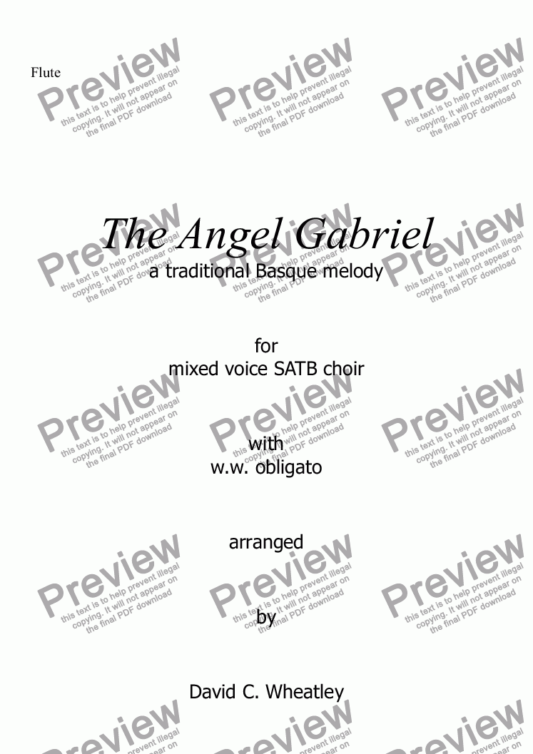 page one of the Flute part from The Angel Gabriel for mixed voices (SATB + obbligato ww) by David Wheatley
