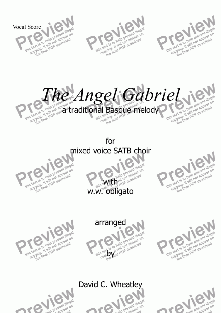 page one of the Vocal Score part from The Angel Gabriel for mixed voices (SATB + obbligato ww) by David Wheatley