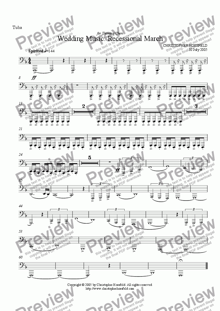 page one of the Tuba part from Wedding Music: Recessional March