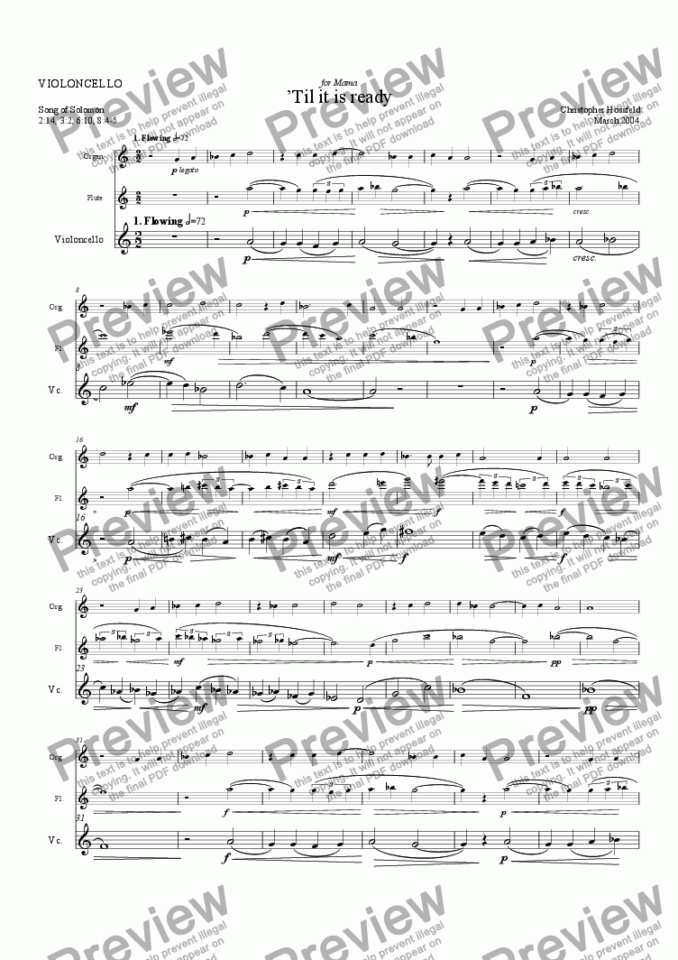 page one of the Cello part from Till it is ready