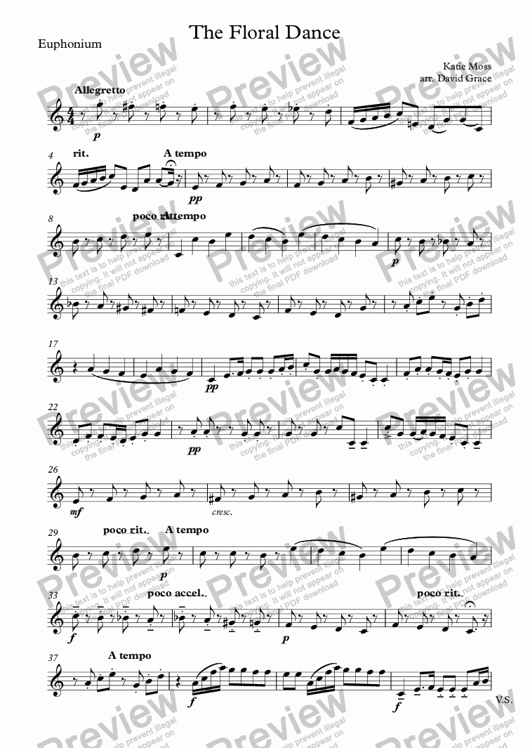 page one of the Euphonium part from The Floral Dance