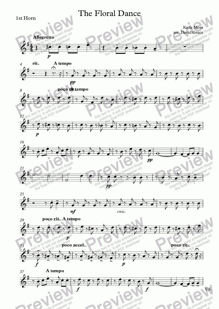 page one of the 1st Horn part from The Floral Dance