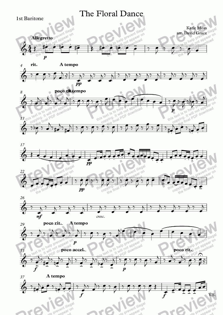 page one of the 1st Baritone part from The Floral Dance
