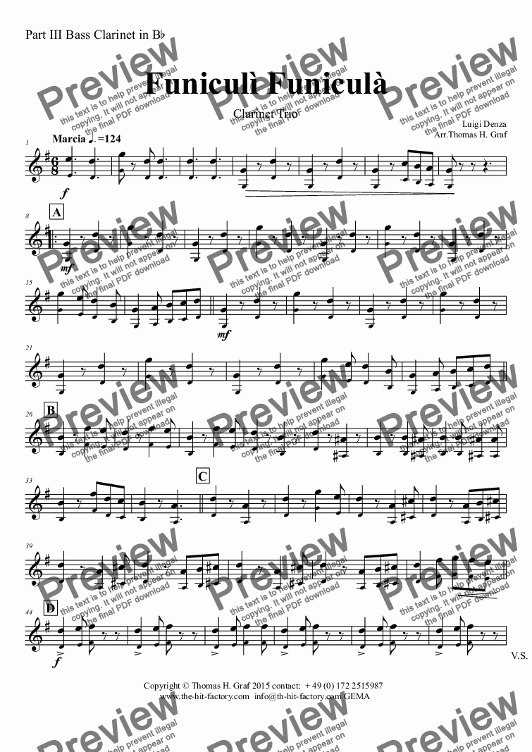 page one of the Part III Bass Clarinet in B^b part from Funiculi Funicula - Italian Evergreen - Clarinet Trio