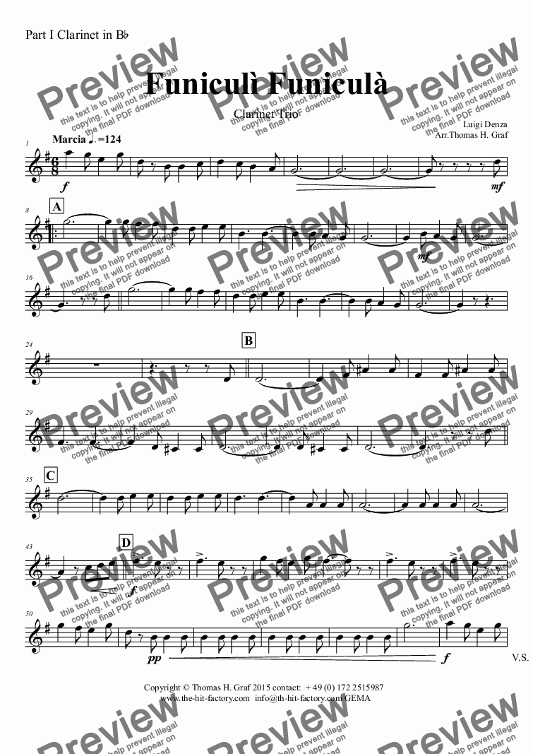 page one of the Part I Clarinet in B^b part from Funiculi Funicula - Italian Evergreen - Clarinet Trio
