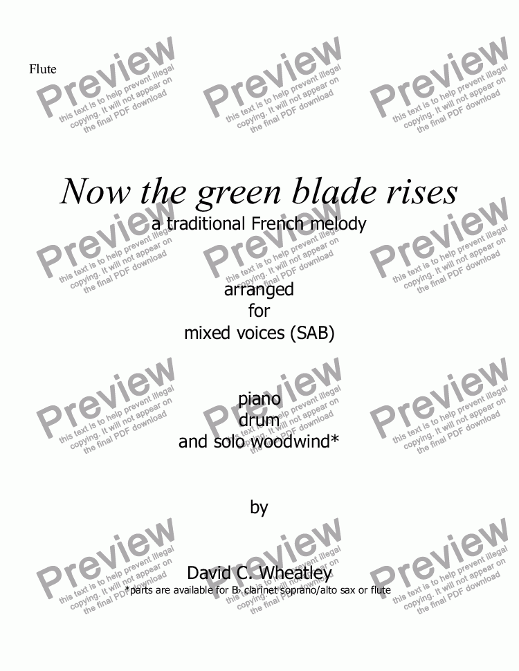 page one of the Flute part from Now the green blade rises for mixed voices (SAB with obbligato wind)