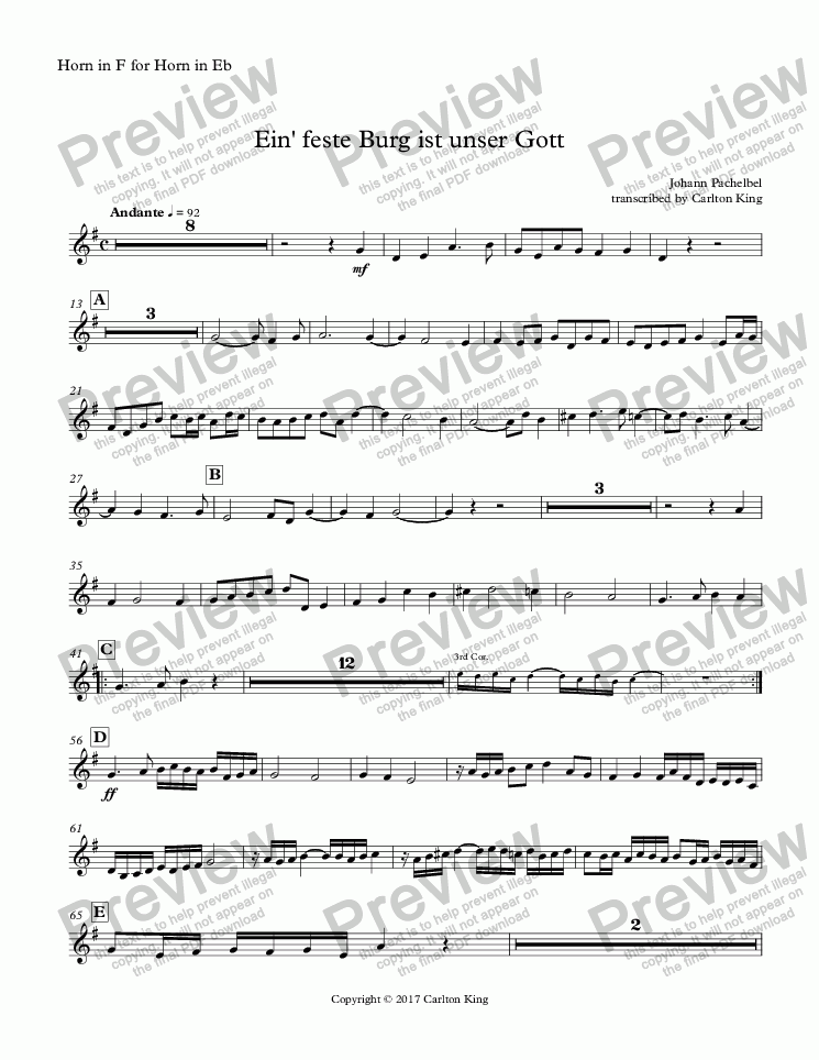 page one of the Horn in F for Horn in Eb part from Ein' feste Burg ist unser Gott (10-piece)