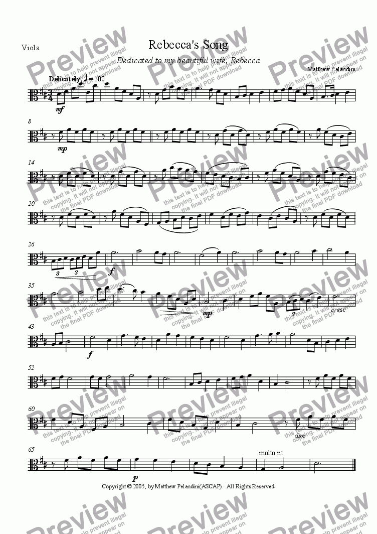 page one of the Viola part from Rebecca's Song