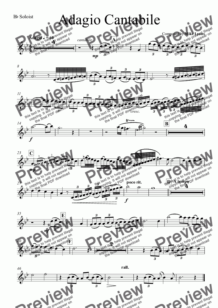 page one of the B^b Soloist part from Brass Band - Euphonium Solo - Adagio Cantabile
