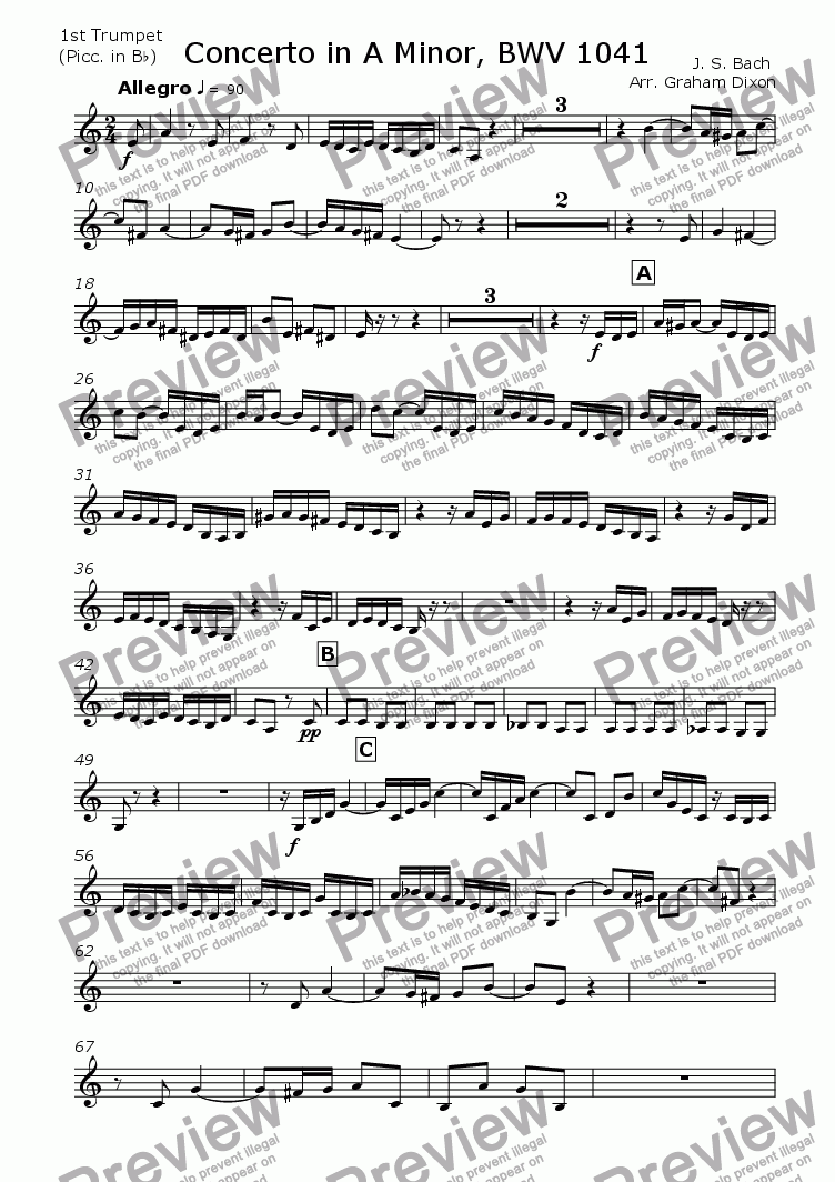 page one of the Trumpet 1 (piccolo) part from Concerto in A Minor, BWV 1041 for Brass Quintet