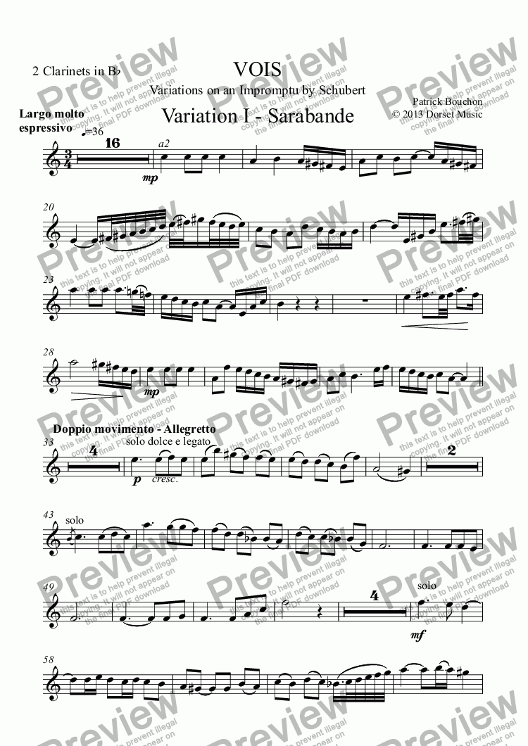 page one of the 2 Clarinets in Bb part from VOIS - Variations on an Impromptu by Schubert - Variation I - Sarabanda