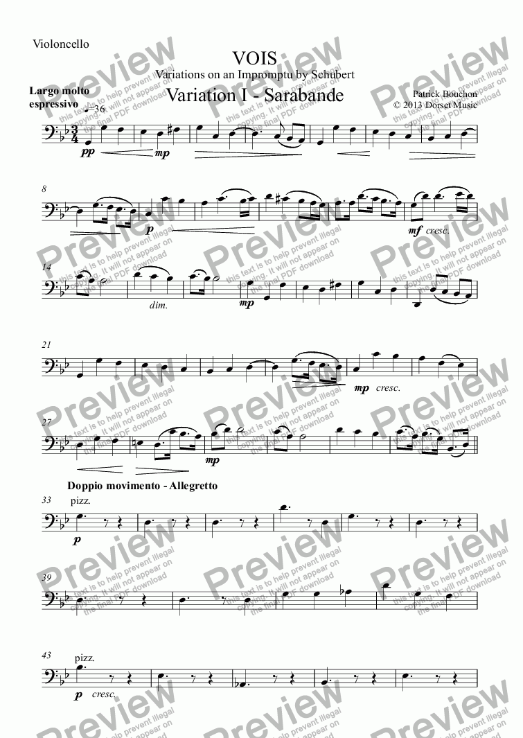 page one of the Violoncello part from VOIS - Variations on an Impromptu by Schubert - Variation I - Sarabanda