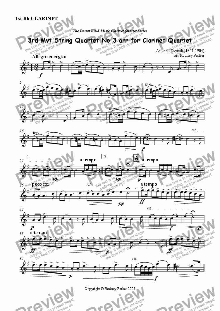 page one of the 1st Bb Clarinet part from 3rd Mvt String Quartet No 3 arr for Clarinet Quartet