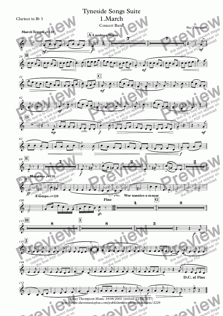 page one of the Clarinet in B^b 3 part from Tyneside Songs Suite: 4 Mvts 1.Lambton Worm 2.Cushie Butterfield 3.Bobby Shaftoe 4.Blaydon Races