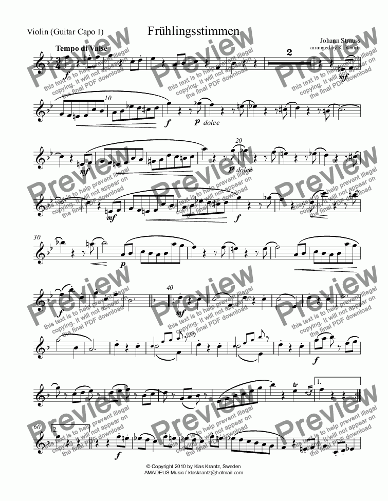 page one of the Violin (Bb Major)) part from Frühlingsstimmen / Voices of Spring for violin and guitar (A major)