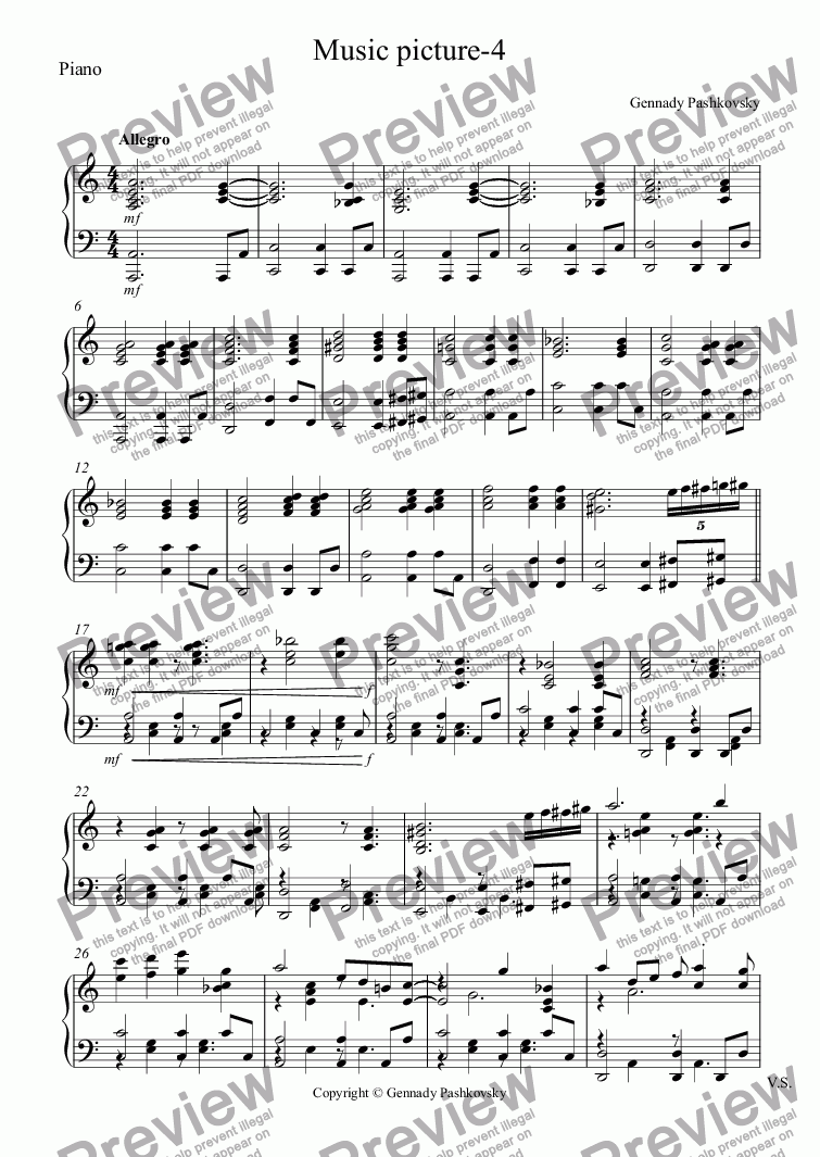 page one of the Piano part from Music picture-4
