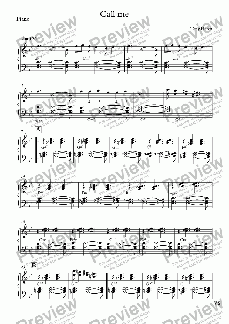 page one of the Piano part from Call me