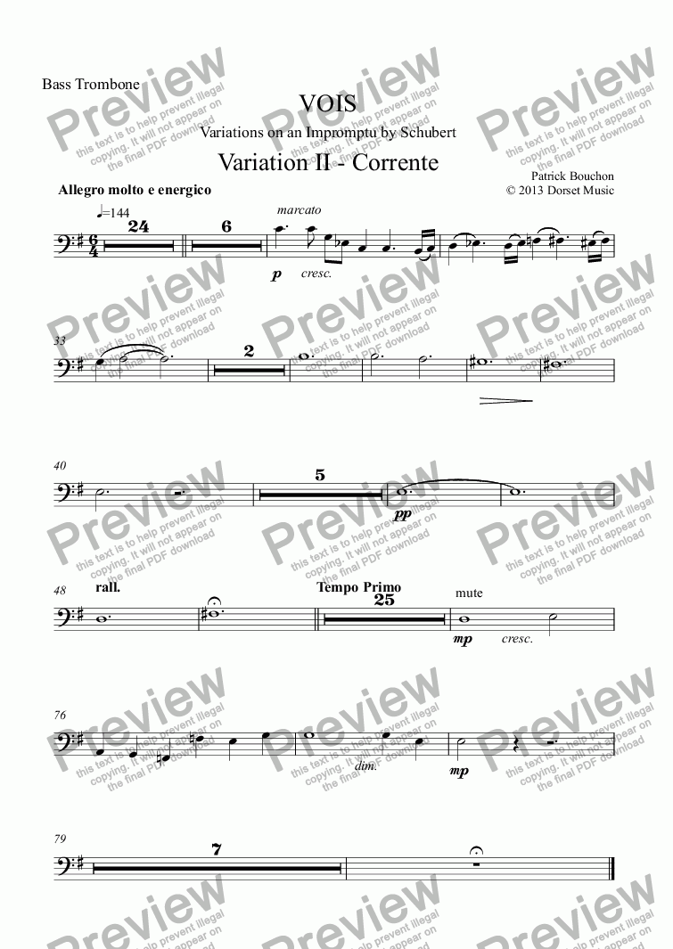 page one of the Bass Trombone part from VOIS - Variations on an Impromptu by Schubert - Variation II - Corrente