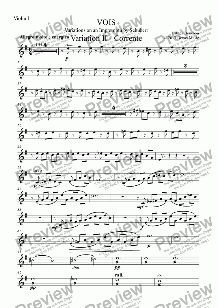 page one of the Violin I part from VOIS - Variations on an Impromptu by Schubert - Variation II - Corrente