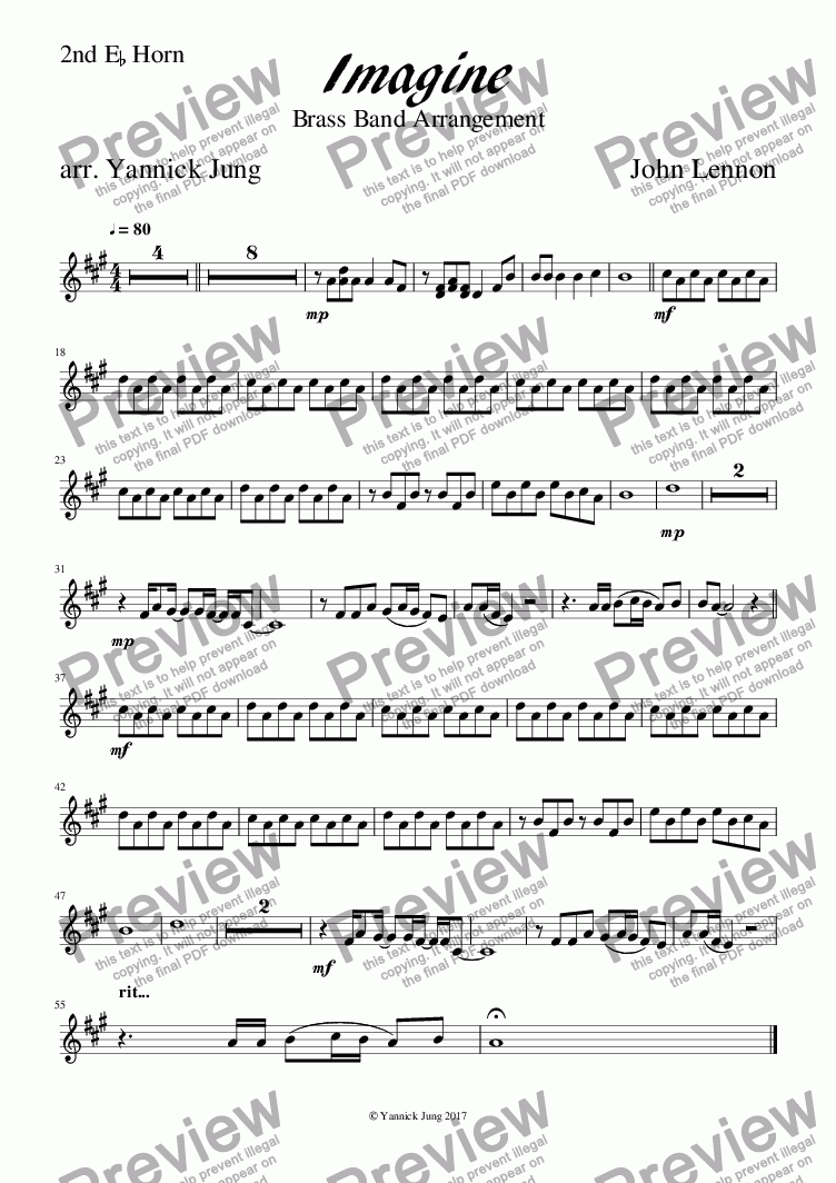 page one of the 2nd Eb Horn part from Imagine