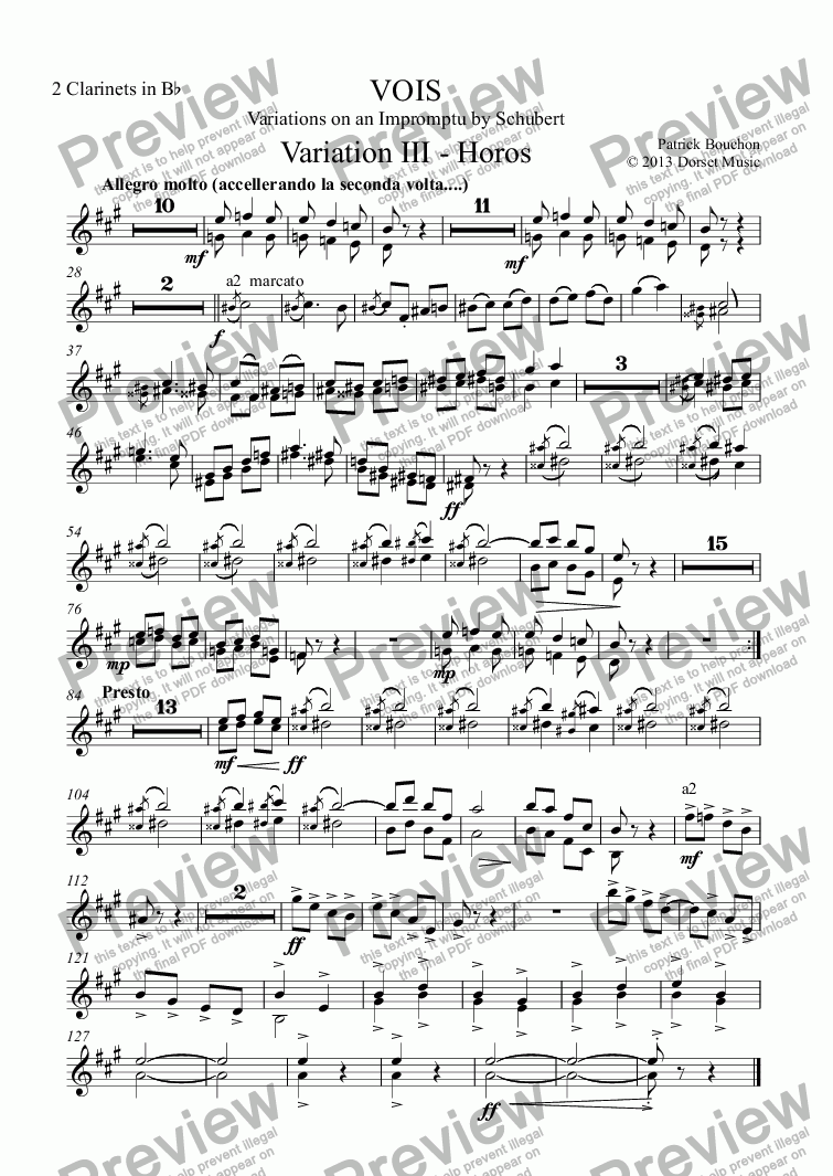 page one of the 2 Clarinets in Bb part from VOIS - Variations on an Impromptu by Schubert - Variation III - Horos