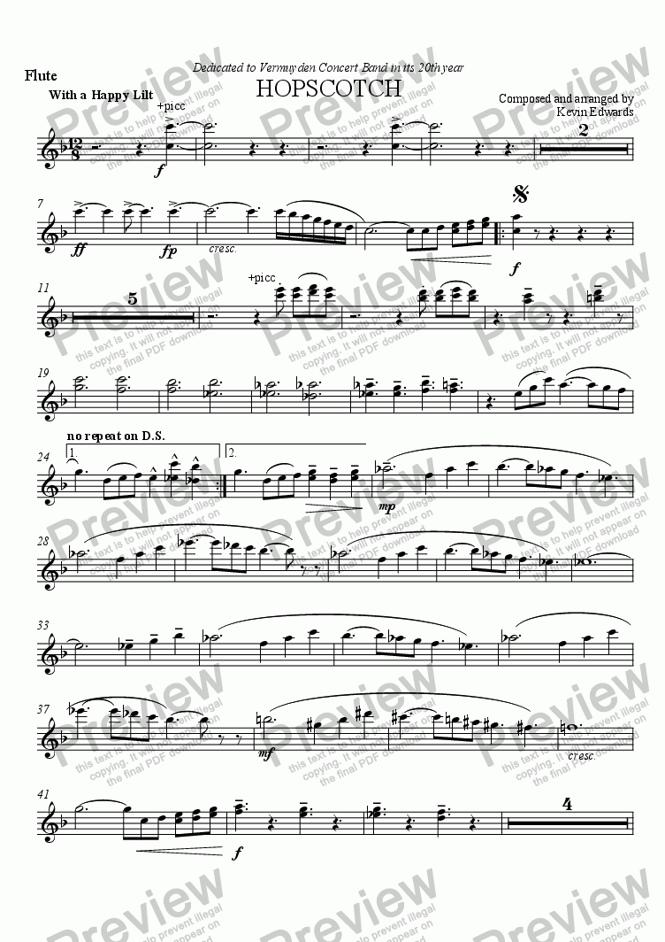 page one of the flutes part from Hopscotch