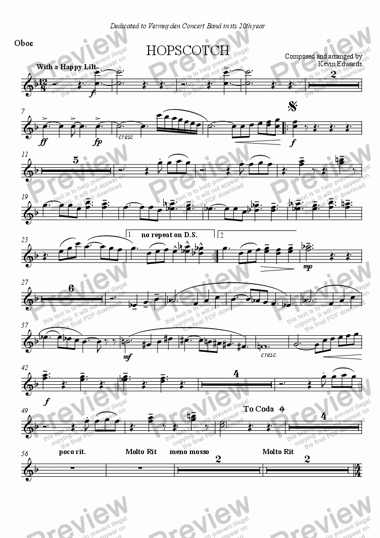 page one of the oboes part from Hopscotch