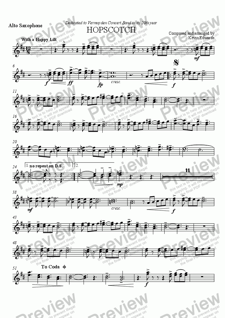 page one of the Alto Sax part from Hopscotch