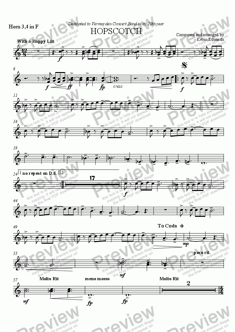page one of the F Horns 3,4 part from Hopscotch