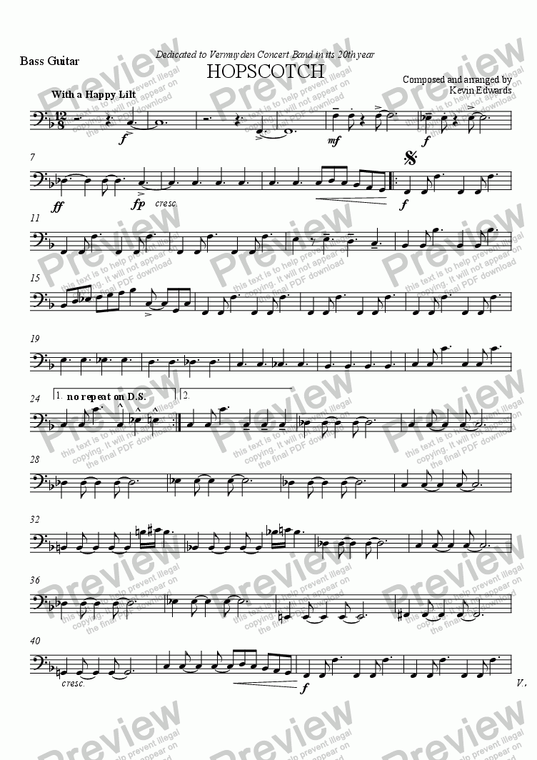 page one of the Bass Guitar part from Hopscotch